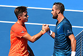 9th January 2018, ASB Tennis Centre, Auckland, New Zealand; ASB Classic, ATP Mens Tennis;  L_R Liam Caruana of Italy and Steve Johnson of the USA after Steven Johnson won their match during the ASB Classic ATP Men's Tournament Day 2