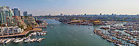 A panorama from the Burrand Street Bridge of Granville Island Vancouver.