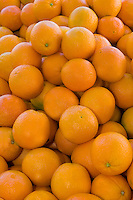 Freshly picked oranges at a produce stand in Fresno, California.