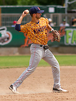 GREEN BAY - June 2015: Kenosha Kingfish infielder Bobby Sheppard (32) during a Northwoods League game against the Green Bay Bullfrogs on June 21st, 2015 at Joannes Park in Green Bay, Wisconsin. Green Bay defeated Kenosha 10-7. (Brad Krause/Krause Sports Photography)