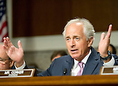 United States Senator Bob Corker (Republican of Tennessee), Chairman, US Senate Committee on Foreign Relations, questions US Secretary of State John F. Kerry who appears before the committee to examine and review Iran nuclear agreement on Capitol Hill in Washington, DC on Thursday, July 23, 2015.<br /> Credit: Ron Sachs / CNP