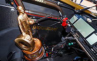 Apr 23, 2017; Baytown, TX, USA; Detailed view of the Wally trophy of NHRA top fuel driver Leah Pritchett celebrates after winning the Springnationals at Royal Purple Raceway. Mandatory Credit: Mark J. Rebilas-USA TODAY Sports