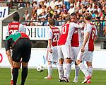 Nederland, Nijmegen, 19 augustus 2012.Eredivisie.Seizoen 2012-2013.N.E.C.-Ajax (1-6).Spelers van Ajax omhelzen Theo Janssen na zijn doelpunt, de 4-0.
