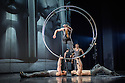 London, UK. 18.02.2015. Dance Consortium presents Cirque Eloize in CIRKOPOLIS, at the Peacock Theatre. Picture shows: German Wheel -Frederic Lemieux Courmier, Samuel Charlton, Mickael Bruyere-Labbe, Joris de Jong, Olivier Poitras, Nelson Caillard. Photograph © Jane Hobson.
