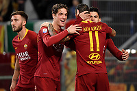Diego Perotti of AS Roma (R) celebrates with team mates Bryan Cristante, Nicolo Zaniolo and Aleksandar Kolarov after scoring a goal  during the Serie A 2018/2019 football match between AS Roma and Sassuolo at stadio Olimpico, Roma, December, 26, 2018 <br />  Foto Andrea Staccioli / Insidefoto