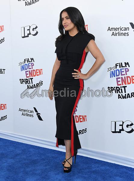 03 March 2018 - Santa Monica, California - Salma Hayek Pinault. 2018 Film Independent Spirit Awards -Arrivals, held at the Santa Monica Pier. Photo Credit: Birdie Thompson/AdMedia