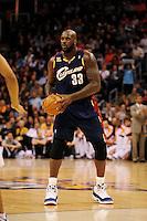 Dec. 21, 2009; Phoenix, AZ, USA; Cleveland Cavaliers center Shaquille O'Neal against the Phoenix Suns at the US Airways Center. Cleveland defeated Phoenix 109-91. Mandatory Credit: Mark J. Rebilas-