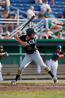 West Virginia Black Bears left fielder Daniel Amaral (27) at bat during a game against the Batavia Muckdogs on July 2, 2018 at Dwyer Stadium in Batavia, New York.  West Virginia defeated Batavia 3-1.  (Mike Janes/Four Seam Images)
