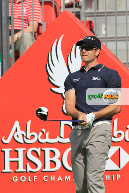 HSBC Golf Championship Abu Dabhi..Henrik Stenson (SWE) on the 1st tee on Wednesday to start of the Abu Dhabi HSBC Golf Championship, Abu Dhabi GC,Abu Dhabi,United Arab Emirates.Picture Fran Caffrey www.golffile.ie