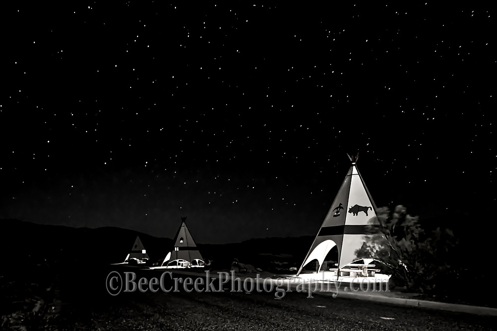 Starry skies over Big Bend State Park along the teepee picnic area in black and white.  This area of the park has some of the darkest skies in Texas that why it is called dark skies on maps.  It is actually so dark we had to light paint these teepees so you could tell what they were.