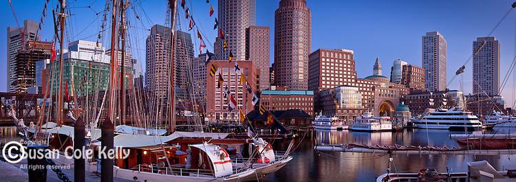 Sunrise on tall ships in Boston Harbor at Sail Boston 09, Boston, MA, USA