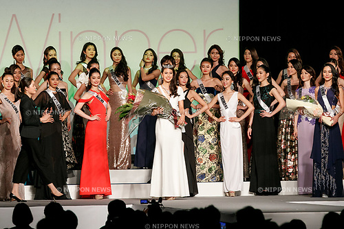 Miss Universe Japan 2016 winner Momoko Abe (C) poses during the Miss Universe Japan competition at Hotel Chinzanso Tokyo on July 4, 2017, Tokyo, Japan. Momoko Abe from Chiba who won the title will represent Japan in the next Miss Universe competition. (Photo by Rodrigo Reyes Marin/AFLO)