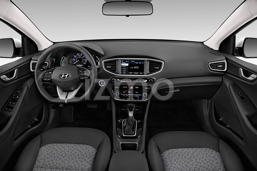 Stock photo of straight dashboard view of a 2019 Hyundai Ioniq Hybrid Blue 5 Door Hatchback