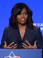 Washington, DC - January 21, 2016: First lady Michelle Obama addresses attendees of the U.S. Conference of Mayors 84th Winter Meeting held at the Capitol Hilton in the District of Columbia, January 21, 2016.   (Photo by Don Baxter/Media Images International)