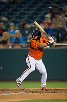 Bowie Baysox Jesmuel Valentin (10) at bat during an Eastern League game against the Richmond Flying Squirrels on August 15, 2019 at Prince George's Stadium in Bowie, Maryland.  Bowie defeated Richmond 4-3.  (Mike Janes/Four Seam Images)