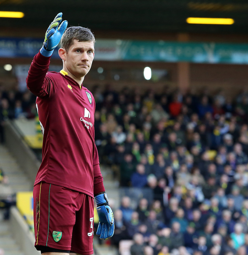 Norwich City's Michael McGovern in action during todays match  <br /> <br /> Photographer David Shipman/CameraSport<br /> <br /> The EFL Sky Bet Championship - Norwich City v Preston North End - Saturday 22nd October 2016 - Carrow Road - Norwich<br /> <br /> World Copyright &copy; 2016 CameraSport. All rights reserved. 43 Linden Ave. Countesthorpe. Leicester. England. LE8 5PG - Tel: +44 (0) 116 277 4147 - admin@camerasport.com - www.camerasport.com