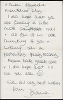 BNPS.co.uk (01202 558833)<br /> Pic: Cheffins/BNPS<br /> <br /> A letter from Diana to Cyril dated March 20, 1985 in which she wishing him a speedy recovery from his illness sold for &pound;4,065.<br /> <br /> Heartwarming unseen letters from Princess Diana in which she speaks of Prince William's love for his younger brother and Prince Harry's rebellious side have sold at auction for a total of &pound;19,185.<br /> <br /> In the letters to the late Cyril Dickman, who served as a steward at Buckingham Palace for more than 50 years, she spoke of how William 'could not stop kissing' Harry after he was born in September 1984.<br /> <br /> One particularly touching letter to Mr Dickman, dated March 2, 1985, reads: &quot;William adores his little brother and spends the entire time swamping Harry with an endless supply of hugs and kisses, hardly letting the parents near!&quot; <br /> <br /> The letters were sold individually at Cheffins auctioneers today.