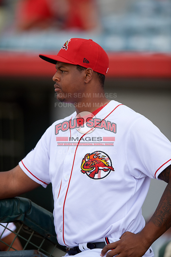 Florida Fire Frogs pitcher Mauricio Cabrera (22) in the dugout before a game against the Daytona Tortugas on April 7, 2018 at Osceola County Stadium in Kissimmee, Florida.  Daytona defeated Florida 4-3.  (Mike Janes/Four Seam Images)