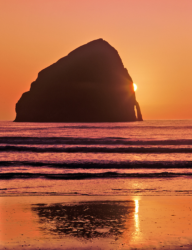 Sunset on beach at Pacific City, Oregon.
