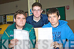 ..CHECKING: Robert O'Connor(Listowel), John Murphy (Duagh) and Ciaran Muvilill (Listowel), from St Michael's College, Listowel checking their result from their leaving cert on Wednesday morning.....