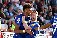 O's Lee Angol scores the equaliser and celebrates with DAle Gorman scores Orient's 2nd goal and celebrates during Exeter City vs Leyton Orient, Sky Bet EFL League 2 Football at St James Park on 14th September 2019