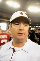 Jan. 1, 2011; Glendale, AZ, USA; Oklahoma Sooners head coach Bob Stoops against the Connecticut Huskies in the 2011 Fiesta Bowl at University of Phoenix Stadium. The Sooners defeated the Huskies 48-20. Mandatory Credit: Mark J. Rebilas-.