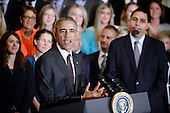 United States President Barack Obama makes remarks as US Secretary of Education John King looks on during an event to honor the 2016 National Teacher of the Year and finalists  in the East Room of the White House on May 3, 2016 in Washington D.C. <br /> Credit: Olivier Douliery / Pool via CNP