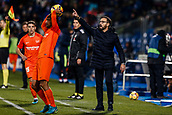 12th January 2018, Estadio Coliseum Alfonso Perez, Getafe, Spain; La Liga football, Getafe versus Malaga; Jose Bordalas Coach of Getafe CF as his team take a throw-in