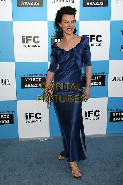 DEBI MAZAR.2007 Film Independent's Spirit Awards at the Santa Monica Pier, Santa Monica, California, USA,.24 February 2007..full length blue dress.CAP/ADM/BP.©Byron Purvis/AdMedia/Capital Pictures.