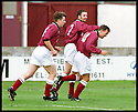 3rd October 98      .Copyright Pic : James Stewart   .STENHOUSEMUIR V ALBION ROVERS.ALBERT CRAIG IS CONGRATULATED BY T.GRAHAM AND R.HAMILTON (7) AFTER SCORING STENNY'S FIRST......Payments to :-.James Stewart Photo Agency, Stewart House, Stewart Road, Falkirk. FK2 7AS      Vat Reg No. 607 6932 25.Office : 01324 630007        Mobile : 0421 416997.If you require further information then contact Jim Stewart on any of the numbers above.........