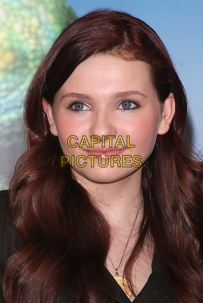 ABIGAIL BRESLIN.attends a photocall for new animated film 'Rango' at Claridge's Hotel, London., England, UK, 22nd February 2011..portrait headshot  black brunette hair beauty gold necklace .CAP/ROS.©Steve Ross/Capital Pictures.