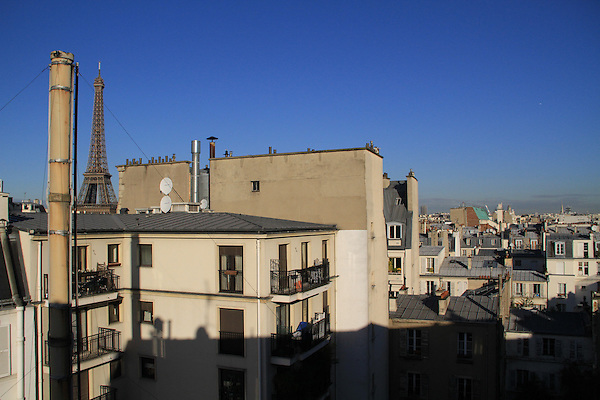 Eiffel Tower from room at the Royal Phare Hotel, Paris, France,