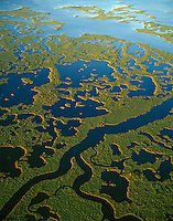 Aerial view Everglades National Park, Florida,  March, Ten Thousand Islands