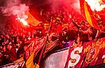 Stockholm 2014-04-16 Fotboll Allsvenskan Djurg&aring;rdens IF - AIK :  <br /> AIK supportrar med en bengalisk eld<br /> (Foto: Kenta J&ouml;nsson) Nyckelord:  Djurg&aring;rden DIF Tele2 Arena AIK supporter fans publik supporters bengaler