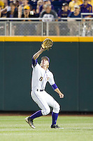 LSU Tiger outfielder Andrew Stevenson (6) makes a catch during Game 4 of the 2013 Men's College World Series against the UCLA Bruins on June 16, 2013 at TD Ameritrade Park in Omaha, Nebraska. UCLA defeated LSU 2-1. (Andrew Woolley/Four Seam Images)