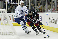 20 October 2006: Columbus Blue Jackets' Gilbert Brule, right, plays against Toronto Maple Leafs' Hal Gill at Nationwide Arena in Columbus, Ohio.<br />