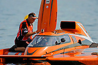 "Bob Sovie helps his son, Joe Sovie, GP-79 ""Bad Influence"", prepare to race. (Grand Prix Hydroplane(s)"