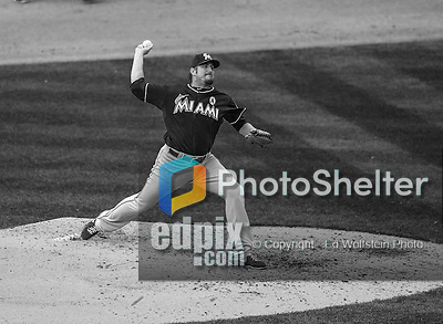 1 April 2013: Miami Marlins pitcher Chad Qualls on the mound during the Opening Day Game against the Washington Nationals at Nationals Park in Washington, DC. The Nationals shut out the Marlins 2-0 to launch the 2013 season. Mandatory Credit: Ed Wolfstein Photo *** RAW (NEF) Image File Available ***