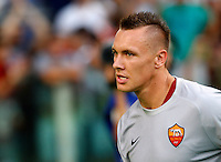 Calcio, amichevole Roma vs Fenerbahce. Roma, stadio Olimpico, 19 agosto 2014.<br /> Roma goalkeeper Lukasz Skorupski, of Poland, arrives for the team's presentation, prior to the friendly match between AS Roma and Fenerbahce at Rome's Olympic stadium, 19 August 2014.<br /> UPDATE IMAGES PRESS/Riccardo De Luca