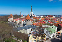 North side of Tallinn city wall and old town, Estonia