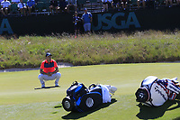 Jordan Spieth (USA) misses his putt on the 16th green during Thursday's Round 1 of the 118th U.S. Open Championship 2018, held at Shinnecock Hills Club, Southampton, New Jersey, USA. 14th June 2018.<br /> Picture: Eoin Clarke | Golffile<br /> <br /> <br /> All photos usage must carry mandatory copyright credit (&copy; Golffile | Eoin Clarke)