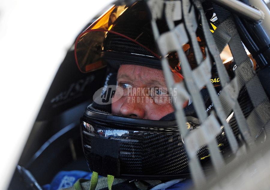 Sept. 24, 2011; Ennis, TX, USA: NHRA pro stock driver Larry Morgan during qualifying for the Fall Nationals at the Texas Motorplex. Mandatory Credit: Mark J. Rebilas-
