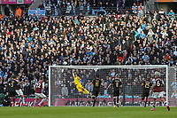 Claudio Bravo of Manchester City at full stretch after the first effort on goal during Aston Villa vs Manchester City, Caraboa Cup Final Football at Wembley Stadium on 1st March 2020