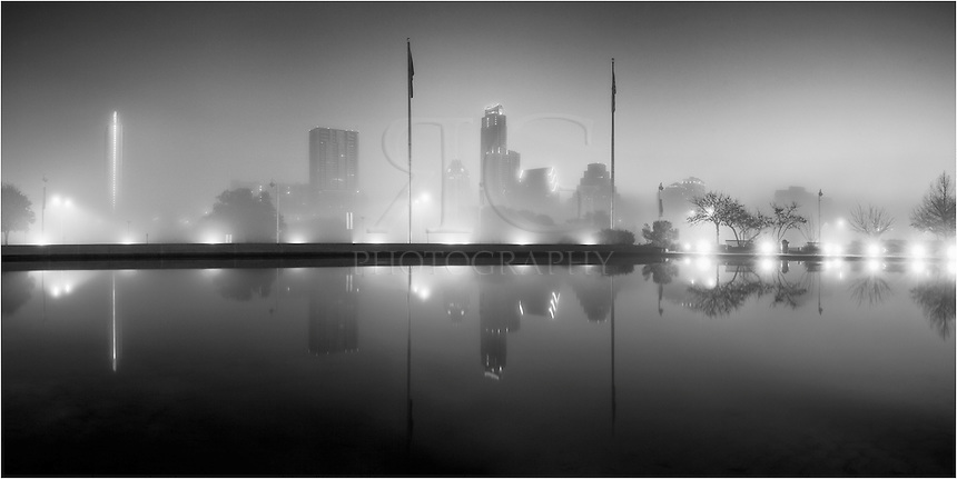 This Austin Panorama was taken near the Long Center. Fog was rolling through the Austin skyline in the early hours of the morning, giving this a surreal feel.