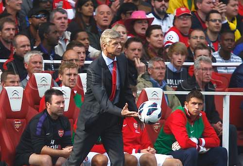29.09.2012. North London, England. ..Arsene Wenger Manager of Arsenal gets animated on the sideline..Barclays Premier League. Arsenal versus Chelsea.