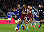 Jonny Evans of Leicester City tackles Ahmed Elmohamady of Aston Villa during the Premier League match at the King Power Stadium, Leicester. Picture date: 9th March 2020. Picture credit should read: Darren Staples/Sportimage