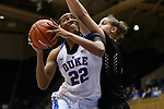 07 January 2016: Duke's Oderah Chidom (22) and Wake Forest's Elisa Penna (right). The Duke University Blue Devils hosted the Wake Forest University Demon Deacons at Cameron Indoor Stadium in Durham, North Carolina in a 2015-16 NCAA Division I Women's Basketball game. Duke won the game 95-68.