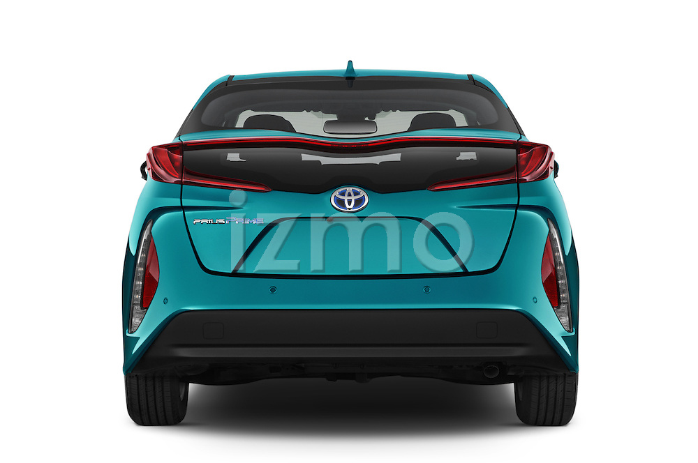 Straight rear view of 2017 Toyota PRIUS PRIME Four 5 Door Hatchback stock images