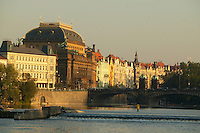 Czeck Republic, Prague, buildings along Smetanova náb?ezí, the avenue along Vltava river in afternoon glow, central Praque.