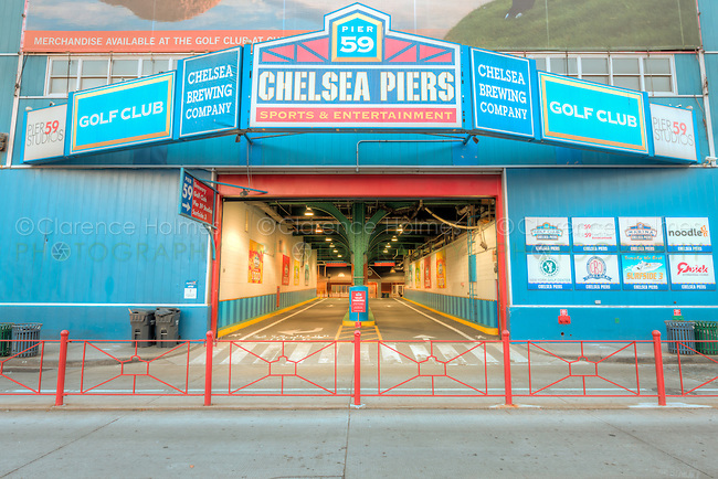 The entrance to the parking garage at Chelsea Piers, a sports and entertainment complex in New York City, New York